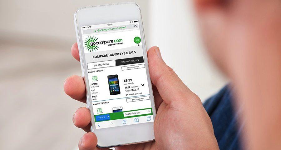 Gocompare.com website on mobile device